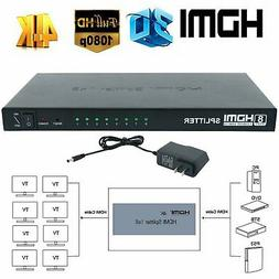 1 In 8 Out HDMI Splitter Switch 1X8 8 Port Repeater Amplifie
