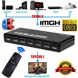 1080p 5 Port 4K HDMI Switch Switcher Selector Splitter Hub I