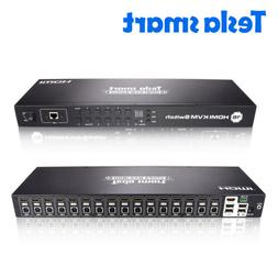 16 Port KVM HDMI Switch Switches Box Support 3840*2160/4K Ra
