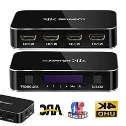4K 4x1 HDMI Splitter HDMI Switch with Remote, NEWPOWER 4 Por