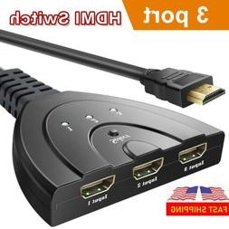3 Hdmi Port Switch Switcher Splitter HUB Box Cable For HDTV
