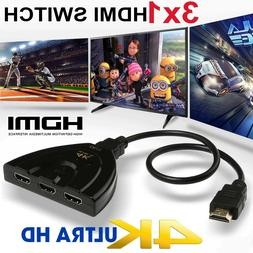 3 Port HDMI Splitter Cable 1080/4K Switch Switcher HUB Adapt