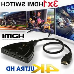2K 4K 3in 1out HDMI Switch Hub Splitter TV Switcher Adapter
