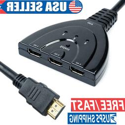 3 Port HDMI Splitter Cable 1080P Switch Switcher HUB Adapter