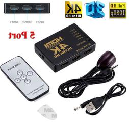4K 3D 5 Port HDMI Switch Splitter Switcher Selector Hub + IR
