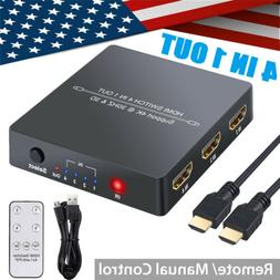 4Port HDMI Switcher 4 In 1 Out PIP Function HDMI Hub with IR