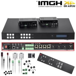 4x4 4K HDMI Matrix Switch Extender 220FT Over CAT6 4 Receive