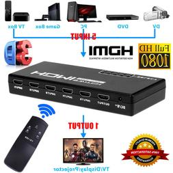 5-Port 4K 1080P HDMI Switch Switcher Selector Splitter+ Remo