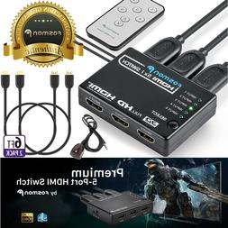 5 Port 5x1 IR HDMI Switch Hub + 2x 6FT HDMI Cable for PS4 Xb