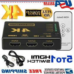 5 Port HDMI Selector Splitter 5 To 1 Switch 4K 3D HUB IR Rem