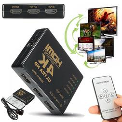 5Port 4K HDMI Switch Switcher 3D 1080P Selector Splitter Hub