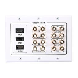 HONGYE 7.2 Speaker Wall Plate, Premium Gold Plated Banana Pl