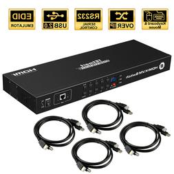 TESmart 8 Port KVM HDMI Switch Switcher Box Support 4K Rack