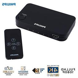 Philips 4 Device HDMI Switch, Wireless Remote, Use with 4K S