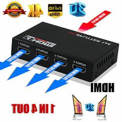 HD 3D 1080p 4K 1 IN 4 OUT HDMI Converter Switcher Splitter +