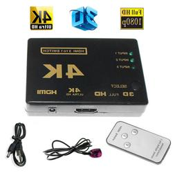 Ultra HD 3Port 3x1 HDMI Switcher 4Kx2K 1080P 3D Switch Selec