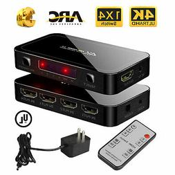 HDMI 4x1 Switch Switcher 4 IN 1 OUT with Toslink and 3.5mm A