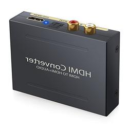 ESYNIC 1080P HDMI Audio Extractor HDMI to HDMI + Optical TOS