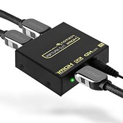4K HDMI Splitter 1 in 2 Out, Fosmon 1x2 HDMI 1.4v Powered Sp
