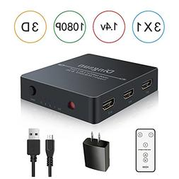 HDMI Switch, HDMI Switch Remote, 3 Port HDMI Switch with Rem