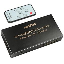 HDMI Switch HDMI 2.0 Switcher Auto 4 In 1 Out with IR Remote