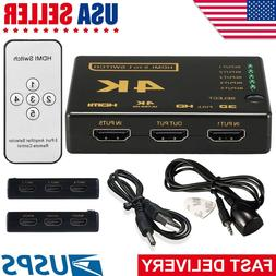 4 Port 4x1 HDMI Switch Box 4K 3D 1080P PIP Switcher IR Remot