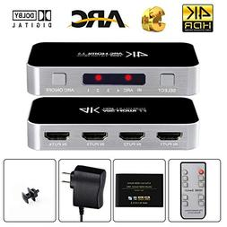 avedio links HDMI Switch with Audio Out, 4K@60Hz 4 Port 4 x