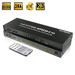 SGEYR 6x1 HDMI Switch 6 Port HDMI Switcher 6 in 1 Out Audio