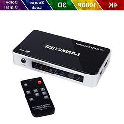 HDMI Switch 4K HDMI Switcher Hub Port 5 in 1 Out with Source