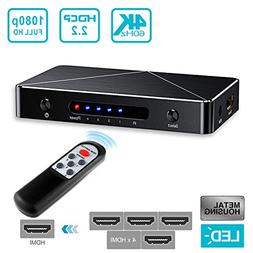 SGEYR 4x1 HDMI Switch V2.0 4 Port HDMI Switcher 4 In 1 Out H