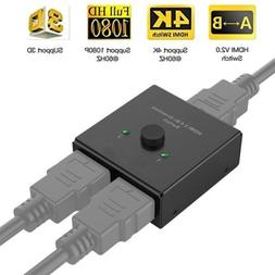HDMI Switcher 2 Ports Bi-direction Manual Switch 2 x 1/1 x 2
