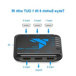 Takya HDMI Switcher Remote Control IR, 5 Port HDMI Switch Ad