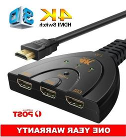 Intelligent HDMI Switch Adapter Box 4K 3x1 Pigtail Switch 3D
