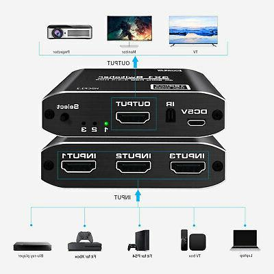 1080p HDMI Switcher 3 in 1 Auto Hub 4K HDR PS4