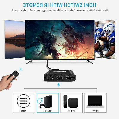 1080p Splitter Switcher 3 in 1 Auto Switch Hub HDR PS4