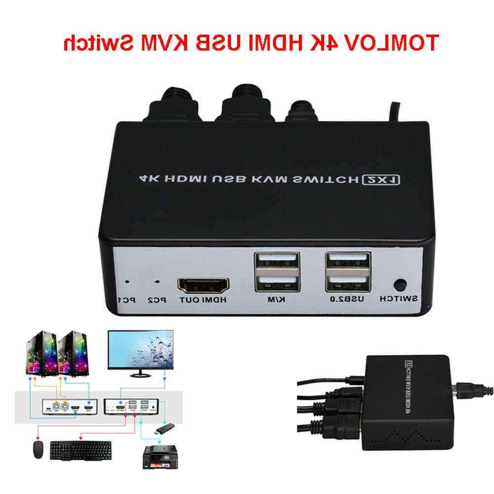 2 KVM Video Port Monitor Switcher w/ Button Switch