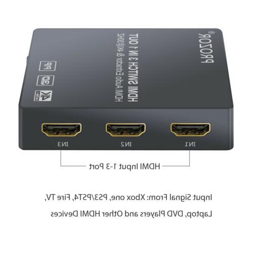 4K 3D 3x1 Switch 1080P Audio Extractor Converter