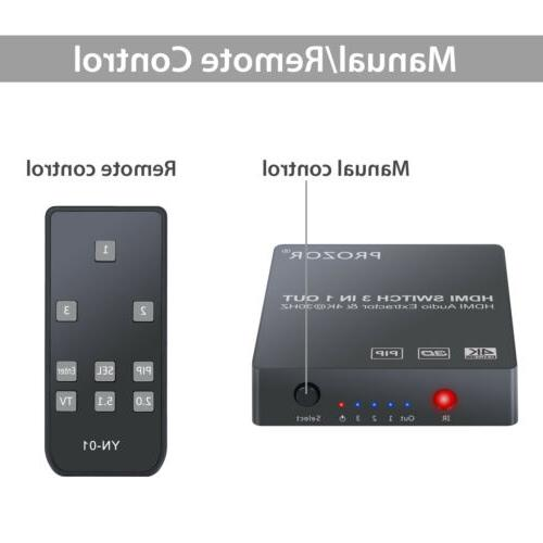 3 HDMI Audio Optical Toslink SPDIF Output