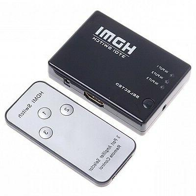 3 Or PORT HDMI Switch Switcher Hub+Remote HDTV