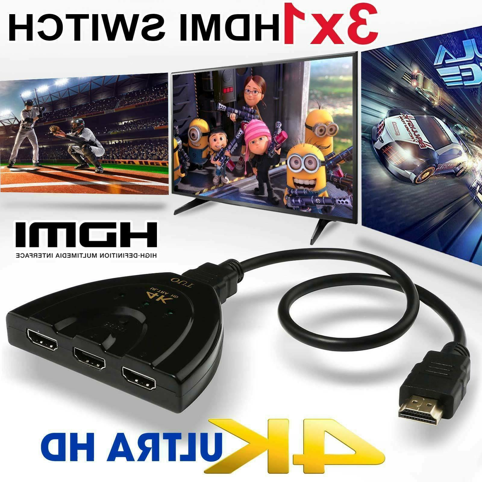 3 port hdmi splitter cable 1080 4k