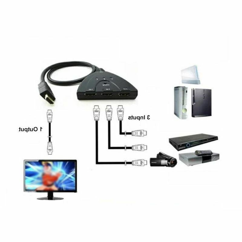 3 Port HDMI Splitter Cable Switch HUB for PS4 Xbox