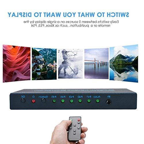 4K@30Hz FiveHome Port HDMI Switcher Support Switch with 1.4,Full