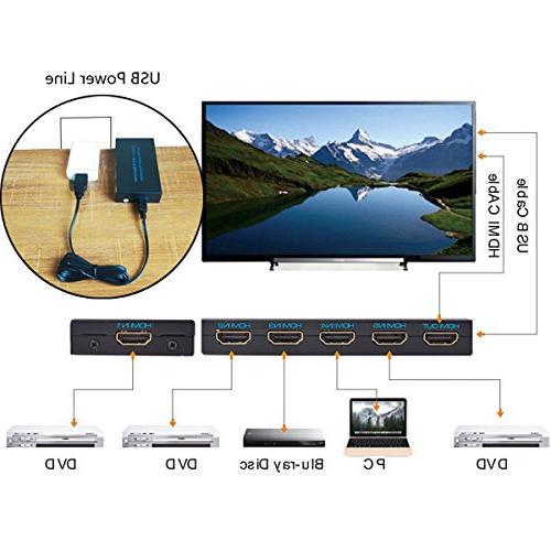 4K@30Hz HDMI FiveHome Switcher with 1.4,Full HD/3D