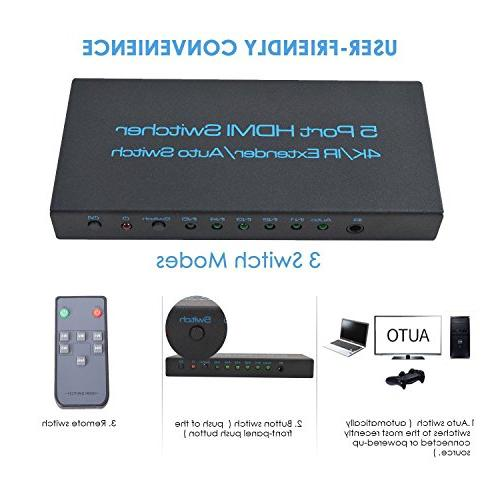 4K@30Hz FiveHome HDMI Switcher Support Auto with HDCP 1.4,Full