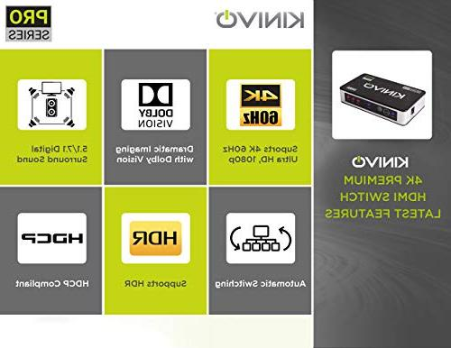 Kinivo 5-Port HDMI Switch with Remote - Supports 60Hz UltraHD, HDR, HDCP 2.2 3D
