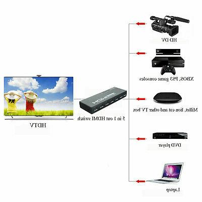5 Switch Selector & Remote 1080p For PS3