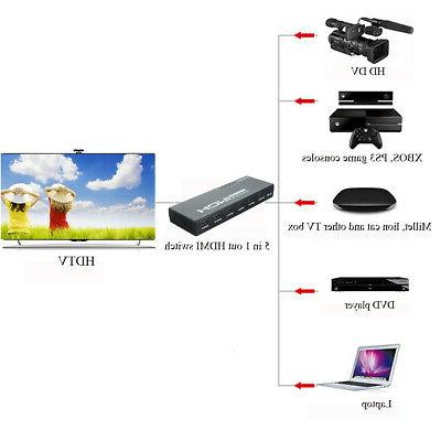 5 3D 1080p 4K HDMI Switcher Selector Adapter +