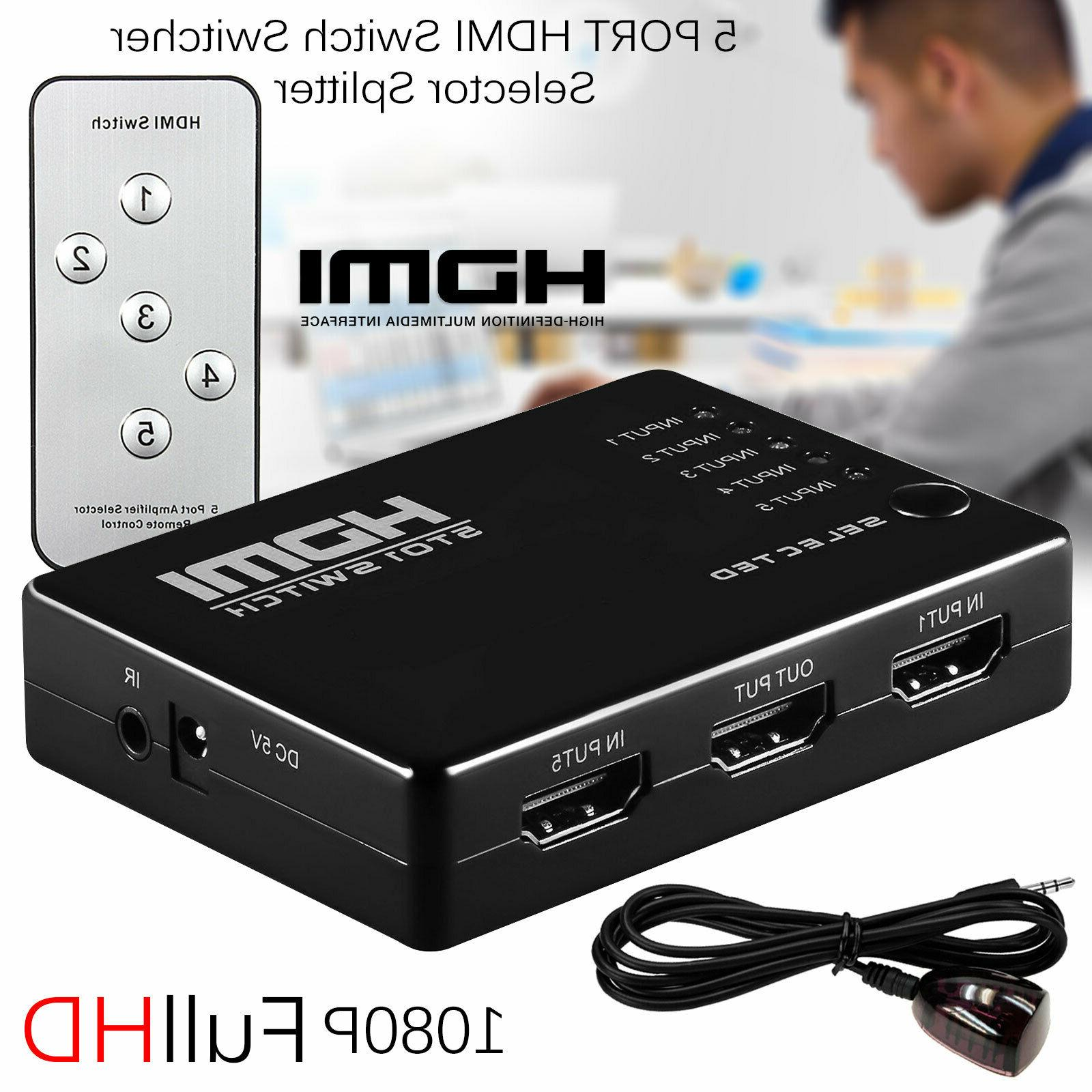 3d 1080p 5 port hdmi switch switcher