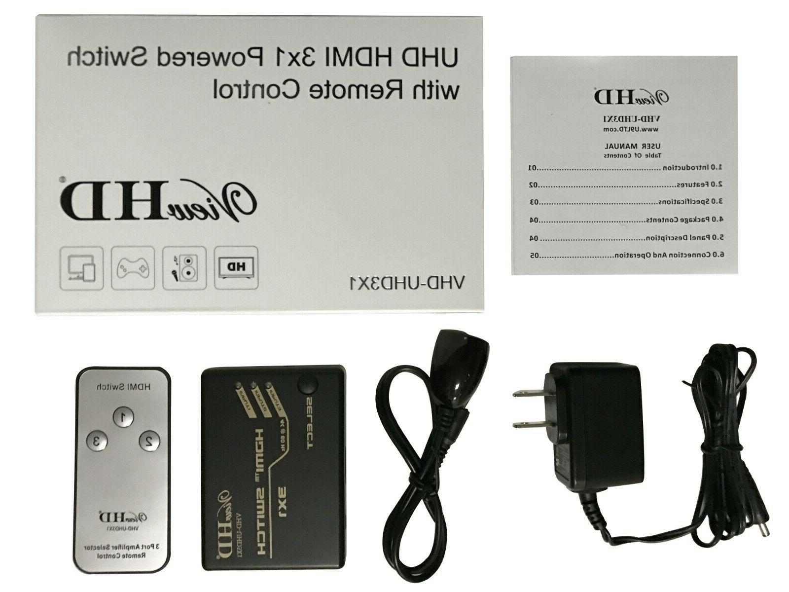 ViewHD 3x1 4K/60Hz HDR Vision HDMI Switch Outputs