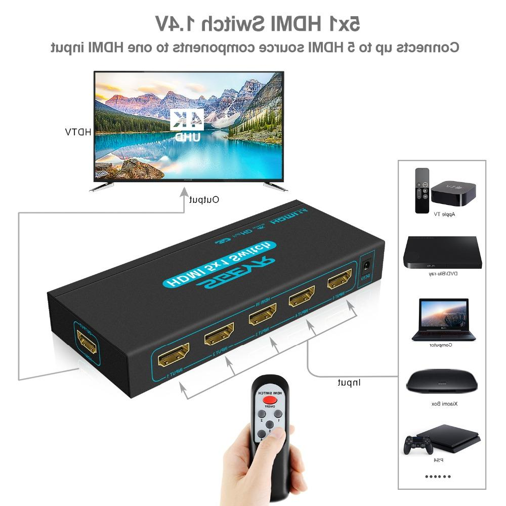 4K 5 Port <font><b>Switch</b></font> 5 1 Out Switcher Splitter 5 HD 1 PS3 with